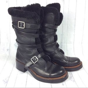 COACH Moto Boots 9.5 Black Leather Shearling Lined